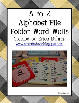 This download is for 26 file folder word walls, teacher directions, and folder labels.  All you have to do is print the sheets and glue them to fil...