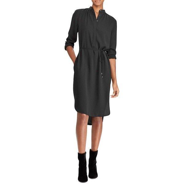 Lauren Ralph Lauren Women's Georgette Shirtdress ($87) ❤ liked on Polyvore featuring dresses, black, high low dresses, special occasion dresses, hi low dress, long-sleeve shirt dresses and lauren ralph lauren dress