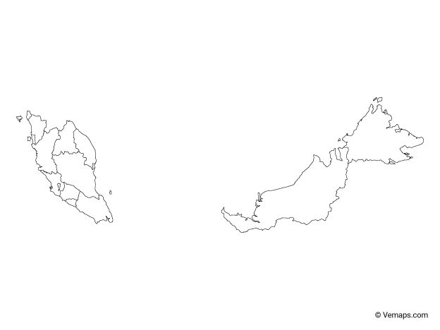 Outline Map Of Malaysia With States And Federal Territories Free Vector Maps Map Outline Malaysia Map