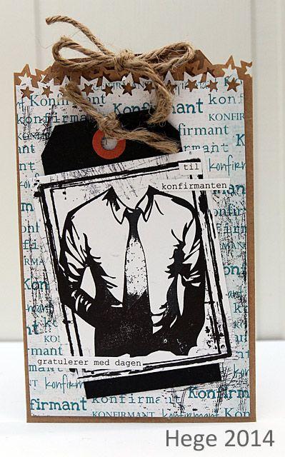 Et stilig konfirmasjonskort til gutt - med både stempel og ark fra Papirdesign