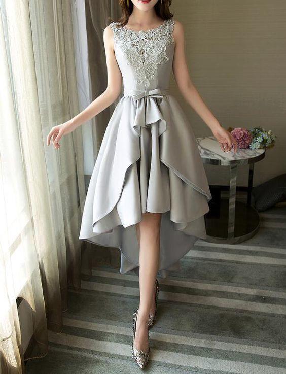 Graues Satin und Spitze High Low Partykleid, runder Ausschnitt charmantes formelles Kleid, Abendkleid