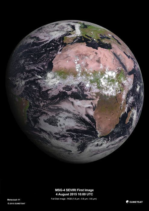 Space in Images - 2015 - 08 - MSG-4, Europe's latest weather satellite, delivers first image