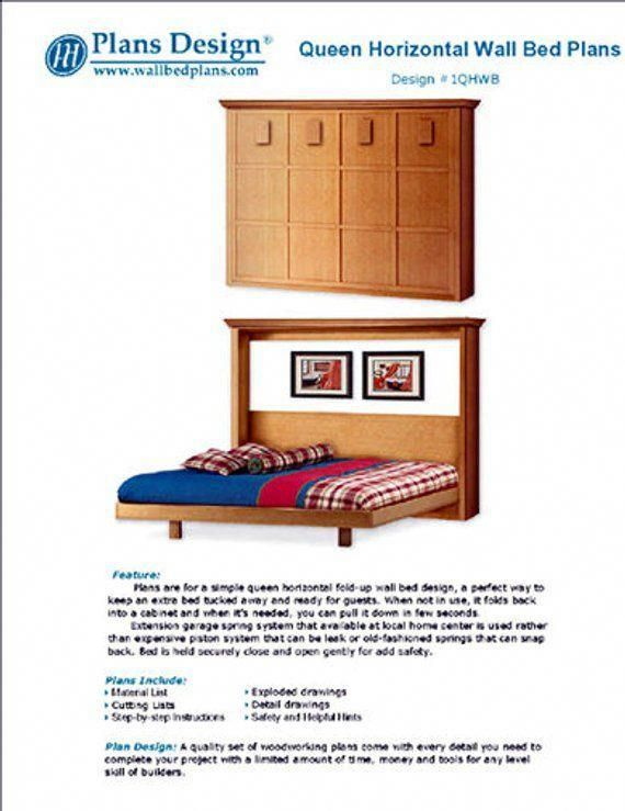 queen horizontal hiden wall murphy bed woodworking plans 1qhwb rh pinterest com
