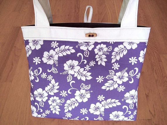 Medium Tote Bag Hawaiian PURPLE White Hibiscus 100% Cotton Purple Duckcloth Beach Easter Housewarming Birthday gift REVERSIBLE with Pocket! ~ Available on www.MaliakeiBags.com