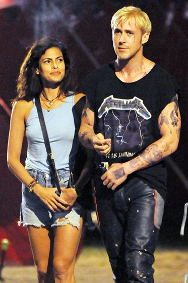 "Ryan and Eva on set of ""The Place Beyond the Pines"""