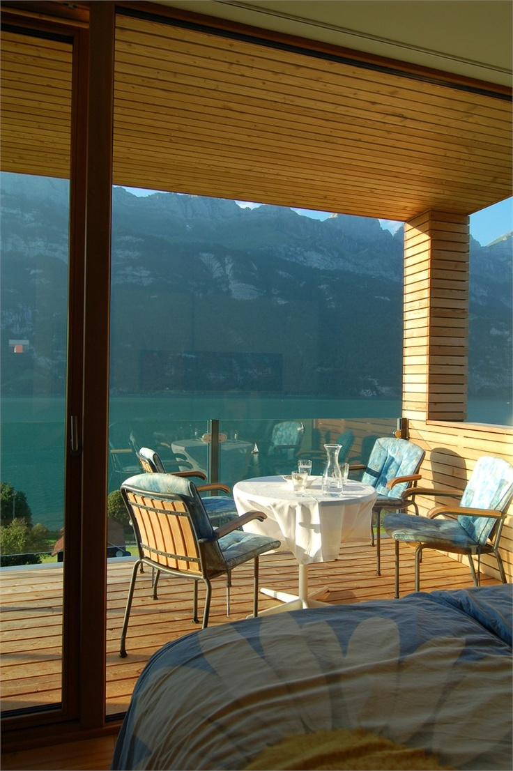 Wohnhaus am Walensee, Unterterzen, 2007 bit.ly/zXMzjL #archilovers #architecture #landscape #lake #mountains #outdoor: Wooden Chairs, Beautiful View, Mountain Outdoor, Lakes Mountain, Km Architecture, Furniture Design, Bedrooms Furniture, Modern Home, Wood Houses