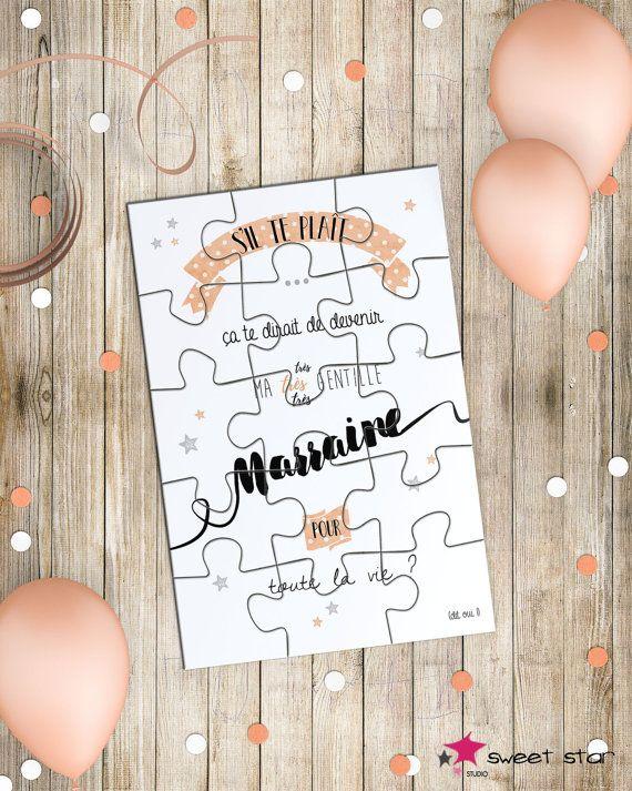 Annonce Marraine  Carte Puzzle et sa par LaPoupettePaillettes