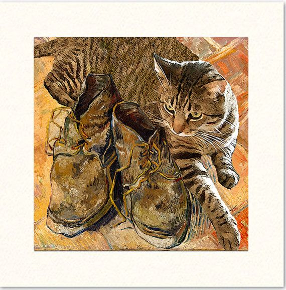 225 best cat art greeting cards images on pinterest blank cards blank cards vincent van gogh note card stationery set 5 cat note cards tabby cat notecards deborah julian m4hsunfo