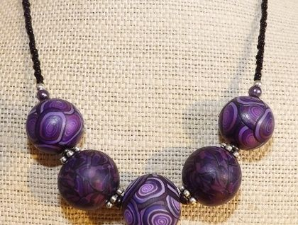 Purple Kathryn Design Chunky 5 Bead Necklace