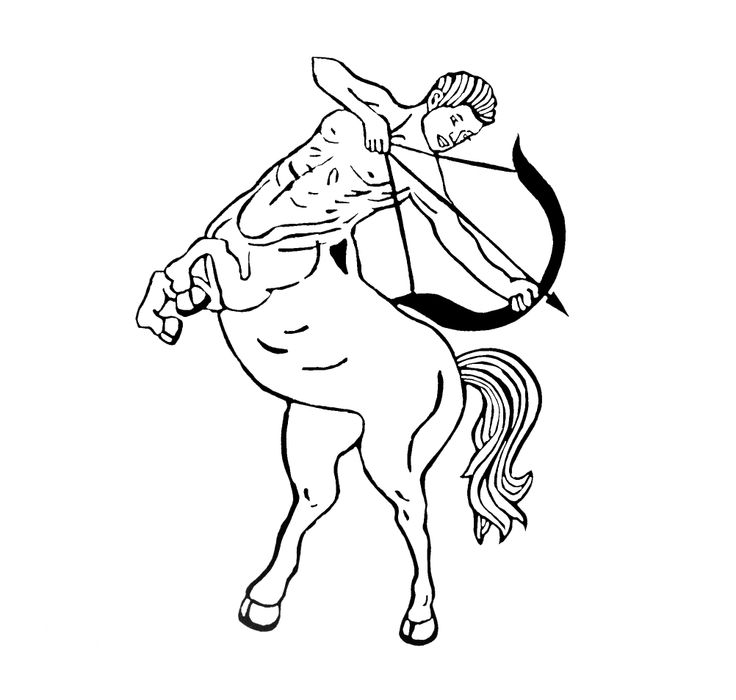 Centaur: lino print