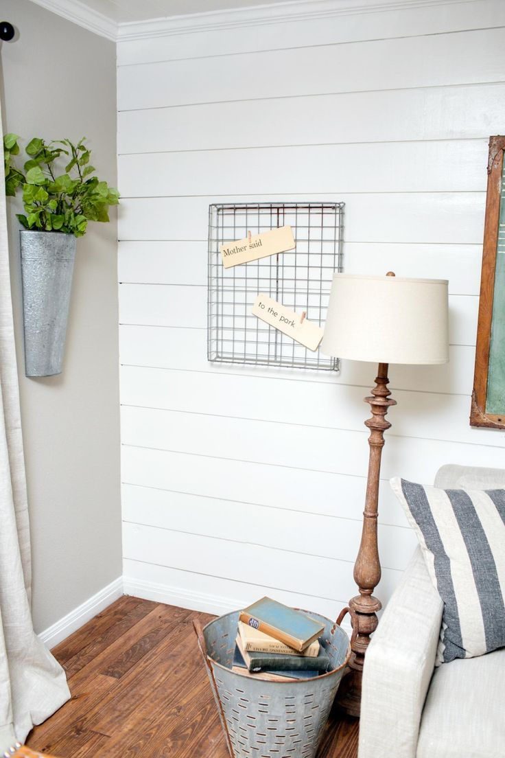 A decorated corner of the living room in the King home, as seen on Fixer Upper. (after)- floor lamp