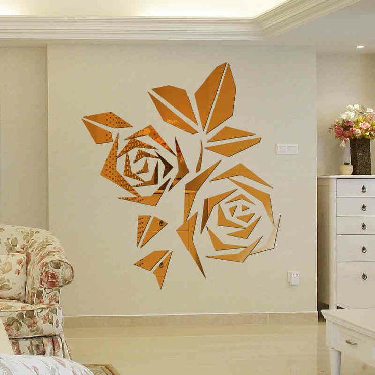 Дети гостиной диван 3d акриловое зеркало ТВ фоне кристально мерное декора наклейки стены комнаты роз зеркально-tmall.com день кота