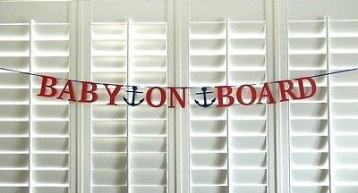 Baby on Board Banner Nautical Baby Shower Banner Paper Garland Photo Prop