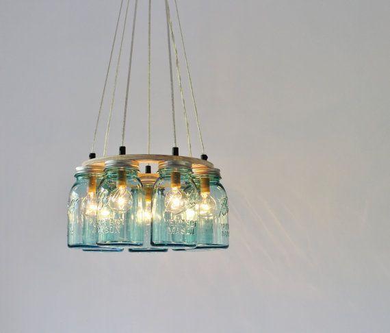 Barattolo di vetro Lampadario Ring corpo illuminante, Quart blu antico 7 vasetti
