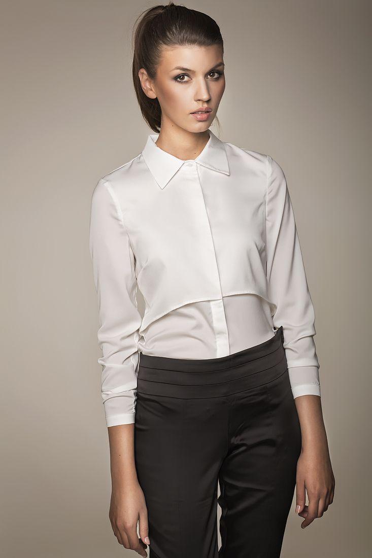 MISEBLA biała koszula z podwójnym przodem