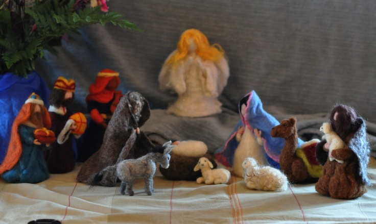 Needle felted Nativity Scene/ Waldorf/13 pieces/Holy Land/mother and child,father,shepherd, kings,sheep,donkey,camel/Made to order.. $358.00, via Etsy.