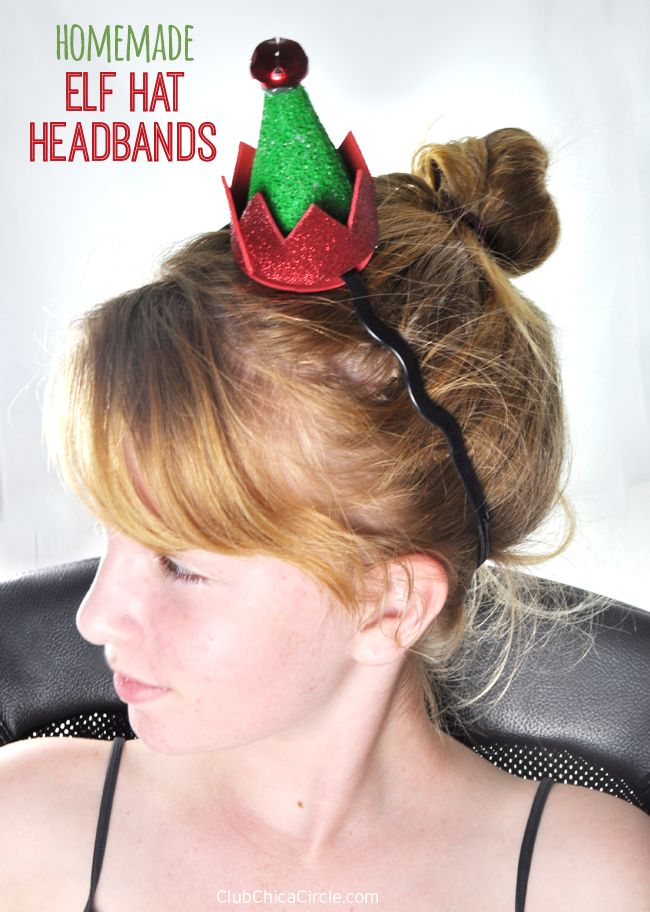 Homemade Elf Hat Headband craft - super easy and fun to make with kids for the holidays