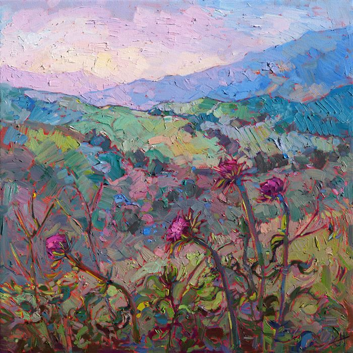 Thistles at Paso - Modern Impressionism | Contemporary Expressionism Oil Paintings Landscapes for Sale by Erin Hanson