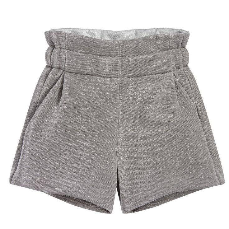 Fendi Girls Silver Glitter Shorts at Childrensalon.com