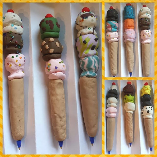 Ice Cream Cone Pens from Polymer Clay - Kids Art Class