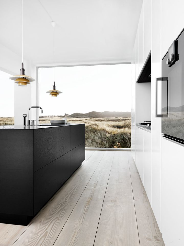 kitchen inspiration wide floorboards black kitchen cabinetry interesting pendants not to mention the view