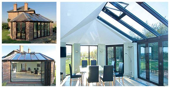 Modern Glass Dining Room Extension With Skylight