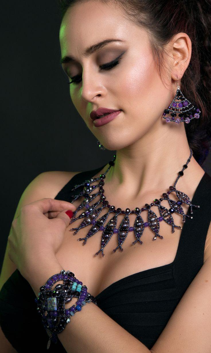 Nemesis Purple Reef bracelet with sapphire,purple alexandrite, turquoise and pearl. www.musesa.com