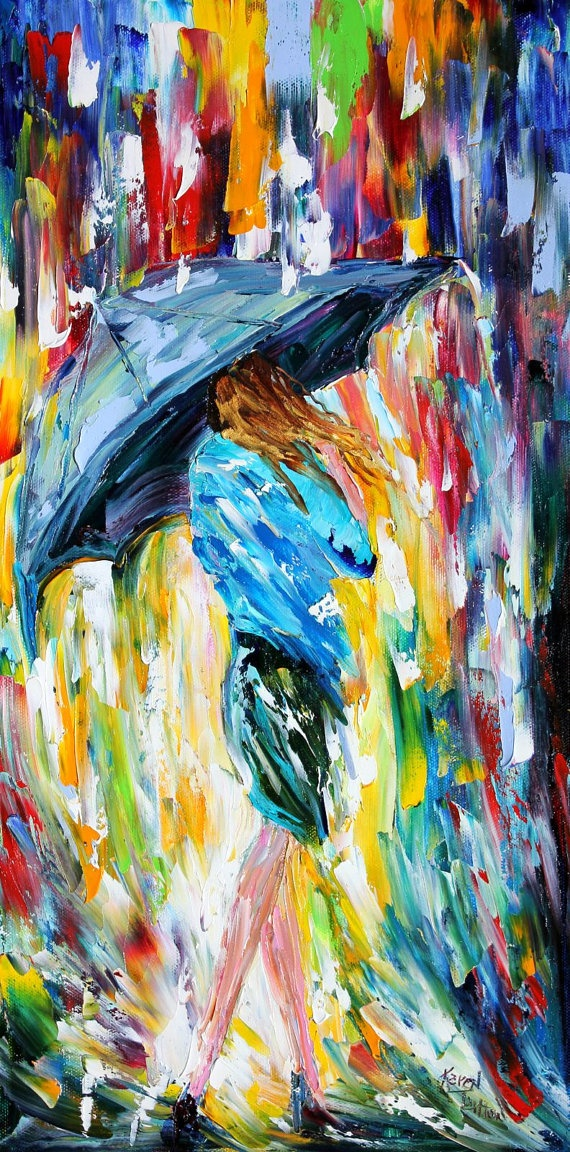 Items similar to original oil painting umbrella rain dance modern impressionism palette knife fine art impasto by karen tarlton on etsy