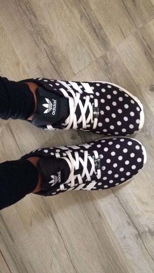 adidas, black, white, polka dot flux