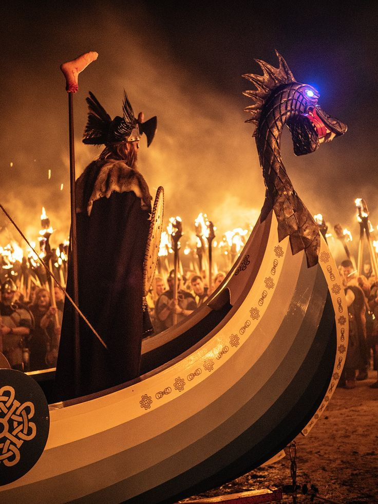 """Up Helly Aa"" refers to any of a variety of fire festivals held in Shetland, in Scotland, annually in the middle of winter to mark the end of the yule season."
