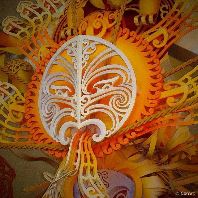 In Māori mythology, Tama-nui-te-rā (Tamanuiterā) is the personification of the Sun, seen here in Te Papa's marae (meeting place). #maori #art #carving #sculpture #fractals #manufactured #tepapa #wellington #newzealand #artproject #pttimg #flattr #czrart