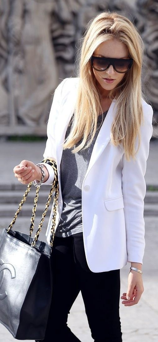 A white jacket. This is a great looking outfit with a white jacket.