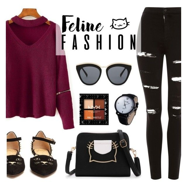 """The Cat's Meow: Feline Fashion"" by dora04 ❤ liked on Polyvore featuring Topshop, Charlotte Olympia and Le Specs"