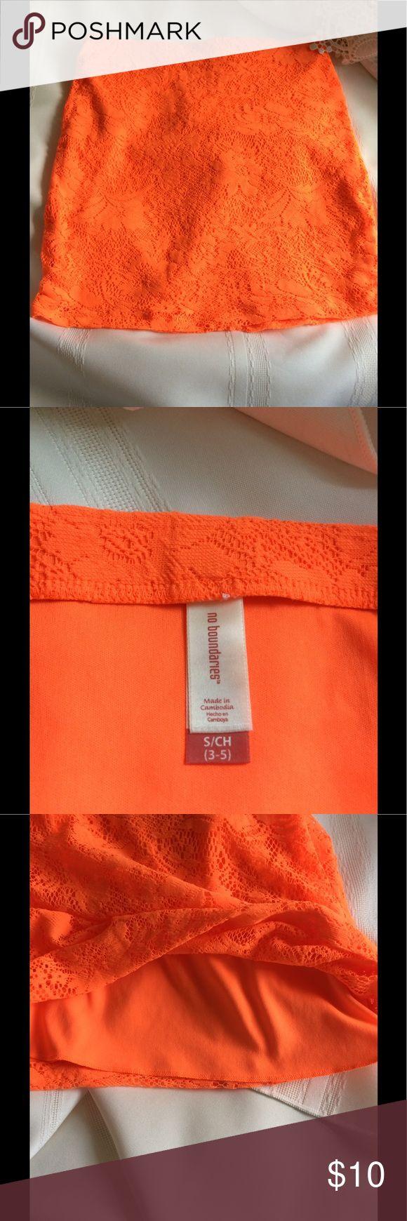 """No Boundaries Orange Stretch Pencil Skirt S/CH 3-5 No boundaries orange stretch pencil skirt size S/CH (3-5) waist 14"""" length 16"""". No Boundaries Other"""