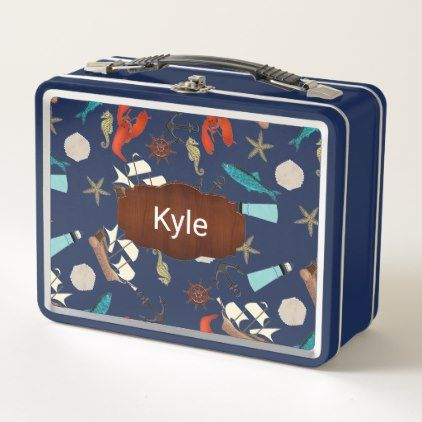 Nautical Pattern Personalized Metal Lunch Box - kitchen gifts diy ideas decor special unique individual customized