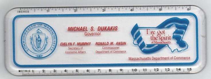 6 Inch Ruler/Paperweight, Michael S. Dukakis, Governor of Massachusetts, Mass Dept of Commerce, c1988 by VintageNEJunk on Etsy