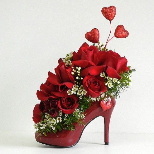 """Gift """"Love Heels"""" to your Valentine – Beautiful Red Roses in a gorgeous Red Stiletto…  #ValentineDayGifts #GiftFlowers"""