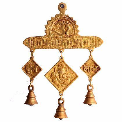 Brass Lord Ganesha Om Swastik Shubh Labh Hanging Bells - Utsav Craft