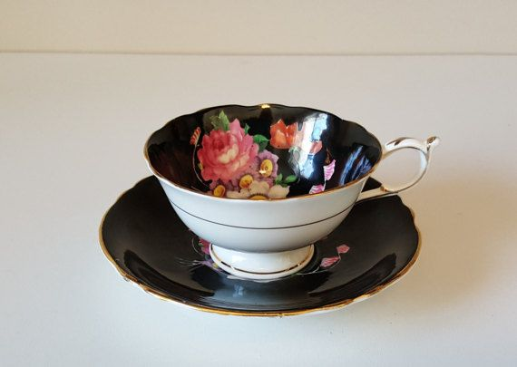 Vintage Teacup and Saucer Black Hand Painted Double by RetroEnvy21