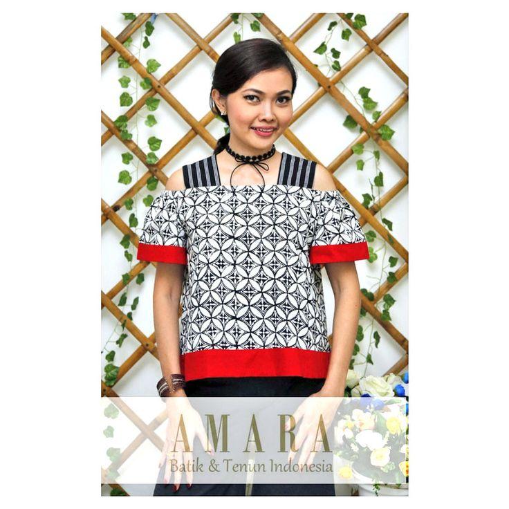 Open Shoulder Tops with Batik Kawung and Lurik  www.amarabatik.com  #blackandwhite #cutoffshoulder #openshoulder #batik #kawung