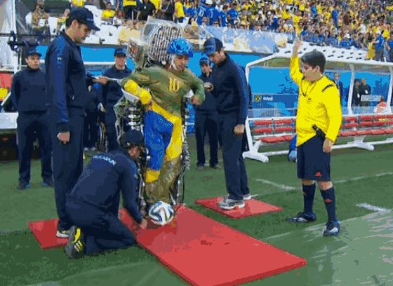 Paralyzed Man in Robotic Body Suit kicks off the World Cup
