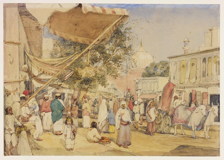 View of the bazaar at the back of the Jama Masjid, Delhi | Carpenter, William , 1856