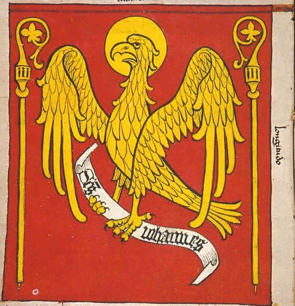 "f°6v, Chorągiew biskupa pomezańskiego // Banner of the Bishop of Pomezan, led by Maekward von Reszemburg -- ""Banderia Prutenorum"", by Jan Dlugosz, 1410"