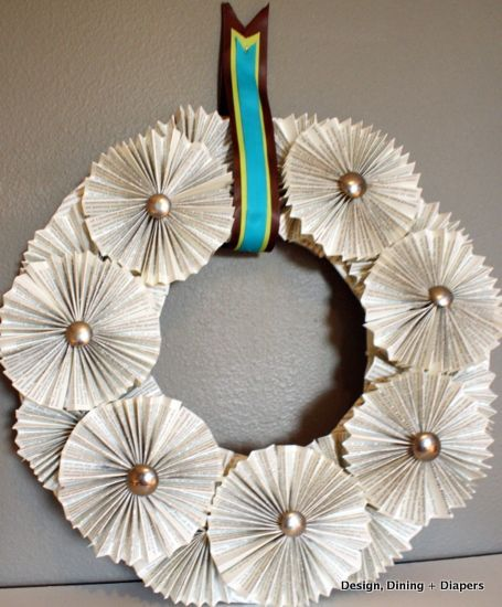 Wonderful modern looking bookpage wreath from Design, Dining and Diapers