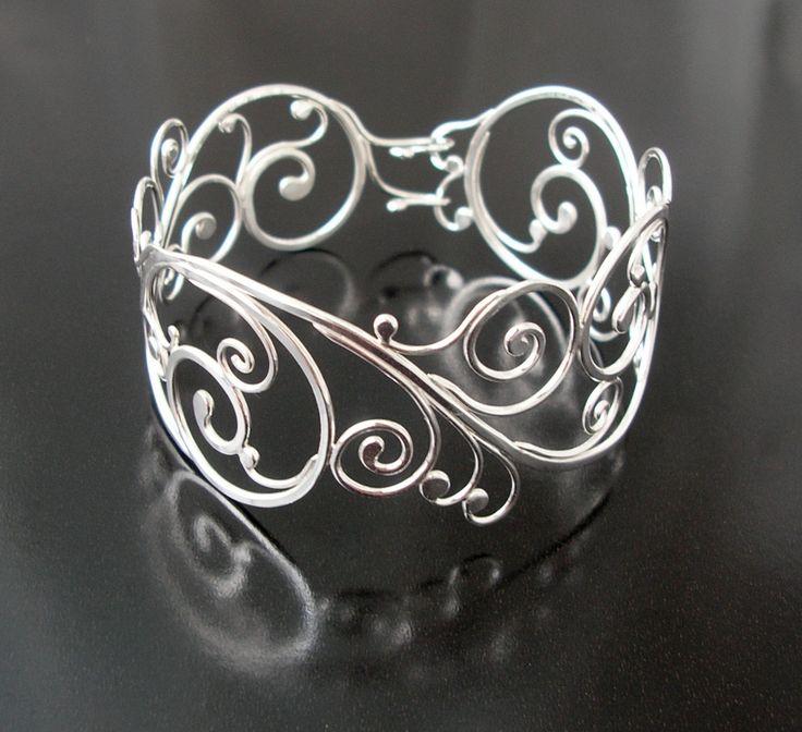Sterling silver swirling vine cuff bracelet, Rachel Wilder handmade jewelry. $360.00, via Etsy.