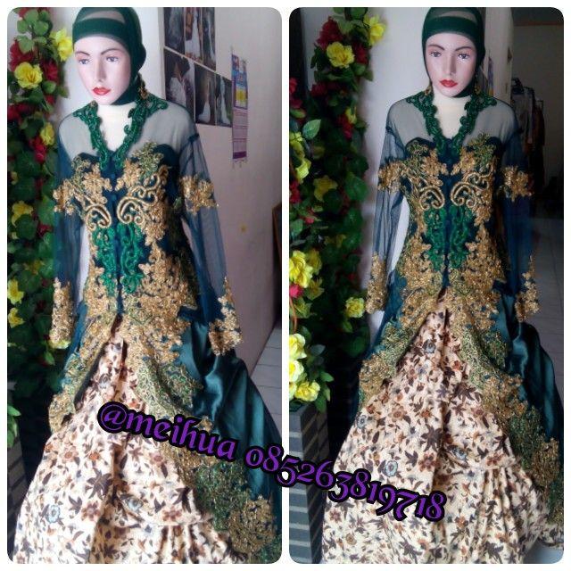 kebaya pengantin hijau payet emas dan kombinasi batik ukuran XL