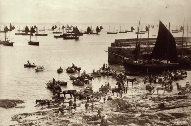 c1870: The daily hustle and bustle in the busy fishing port of Newlyn in Penzance, Cornwall. (Photo by Gibson/Hulton Archive/Getty Images)