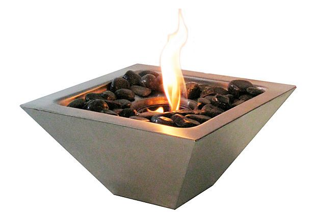 Empire Fireplace   The best things come in small packages. The fabulous Empire fireplace is the perfect answer to get the ambiance of fire, indoors or outdoors, on a table, on a ledge, on a step, on a column. This fireplace uses only 13 oz Gel Fuel Cans. These fuels are safe for indoor use and put off no harmful toxins into the air.