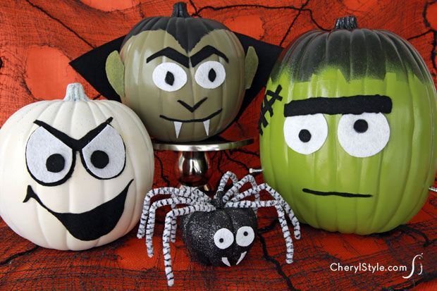 no-carve #DIY monster #pumpkins for #halloween on www.CherylStyle.com