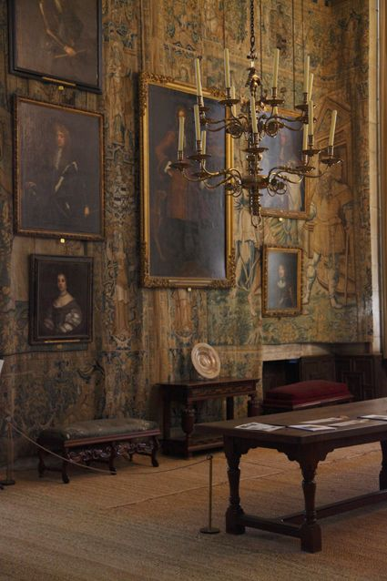 Hardwick Hall...the tapestry combined with the antique oil paintings equals perfection!